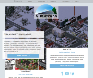 A screenshot of the latest version of Simutrans.com